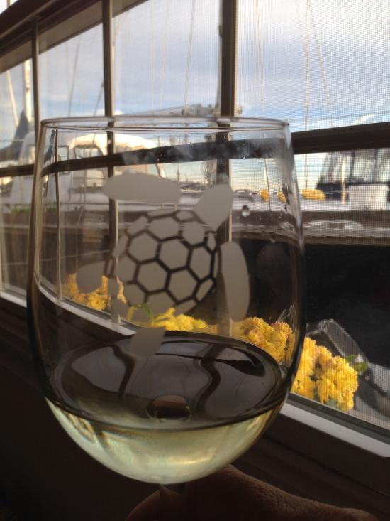Enjoying a glass of wine on Green Turtle